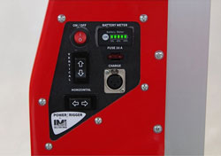 Voltage indication, charge socket, actuator manual control